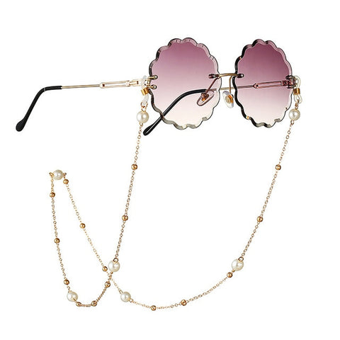 Image of Fashion Reading Glasses Chain for Women Metal Sunglasses Cords Casual Pearl Beaded Eyeglass chain for glasses