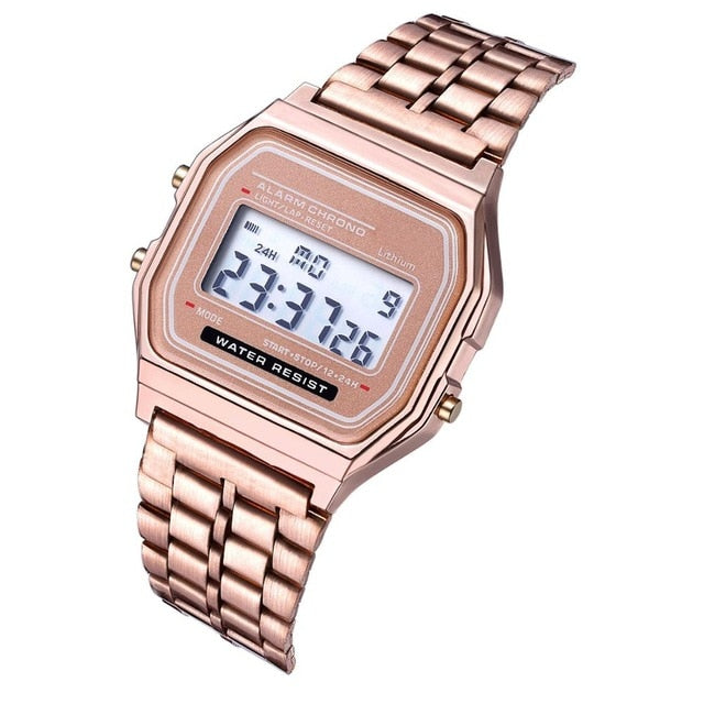 Luxury Rose Gold Women Digital Watch Ultra-thin Steel LED Electronic Wrist Watch Luminous Clock Ladies Watch Montre Femme