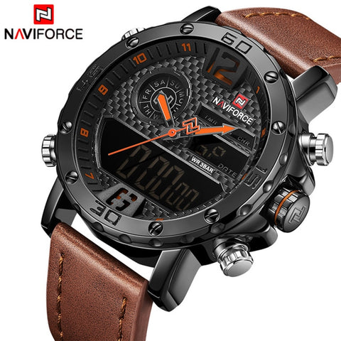 Image of Men Watches Top Luxury Brand Men Leather Sport Watch Men's Quartz LED Digital Clock Military Wrist Watch