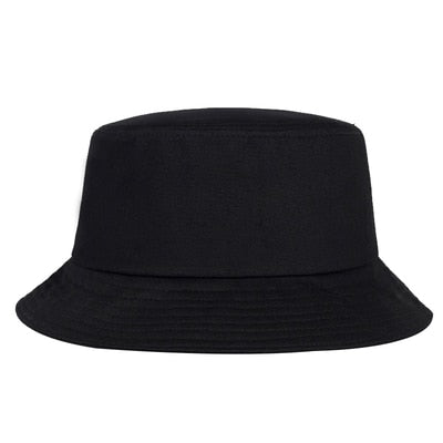 Image of Solid Color iron pin rings personality Bucket Hat cap for unisex women men cotton fishermen caps