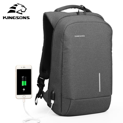 Image of Kingsons Men's Backpack Fashion Multifunction USB Charging Men 13 15 inch Laptop Backpacks Anti-theft Bag For Men