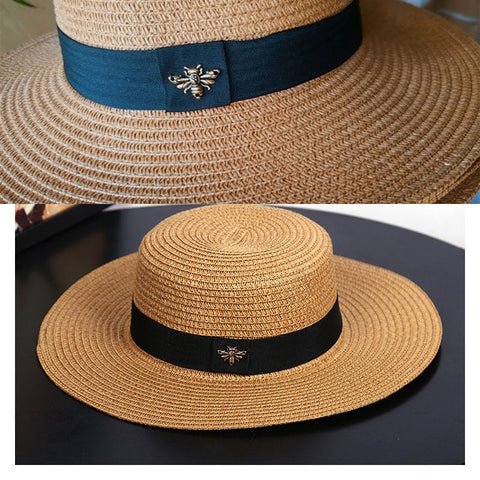 Image of Sun Hats Small Bee Straw Hat European and American Retro Gold Braided Hat Female Loose Sunscreen Sunshade Flat Cap Visors Hats