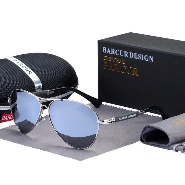 BARCUR High Quality TR90 Sunglasses Polarized Men's Sun glasses Women Pilot UV400 Mirror