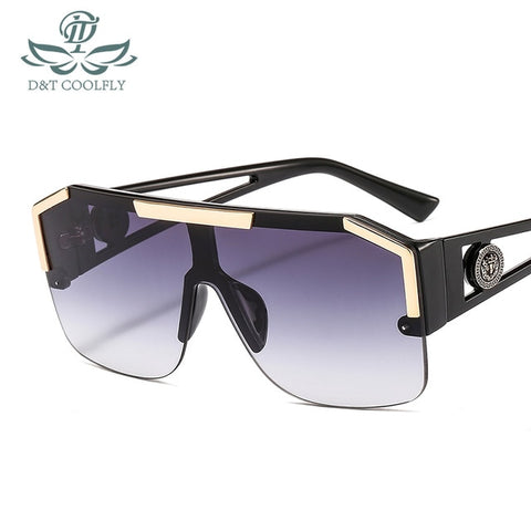 Image of D&T Shield Sunglasses Men Women Fashion Color Lens Alloy Frame High Quality Rectangle Brand Designer Sunglasses UV400
