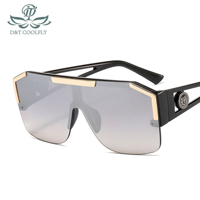 D&T Shield Sunglasses Men Women Fashion Color Lens Alloy Frame High Quality Rectangle Brand Designer Sunglasses UV400