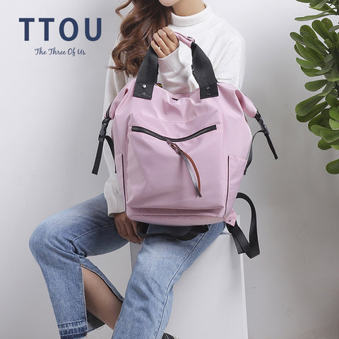 Image of Nylon Backpack Women Casual Backpacks Ladies High Capacity Back To School Bag Teenage Girls Travel Students