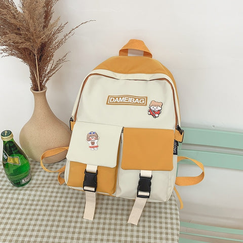 Image of Panelled Waterproof Nylon Women Backpack Female Schoolbag Eye-splice for Teenage Girls Double Front Pockets