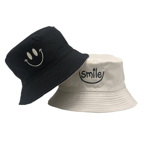 Image of Smile Bucket Hat Double Sided Bucket Hat Smiling face Unisex Fashion Bob Cap Hip Hop Gorro Men Summer Cap