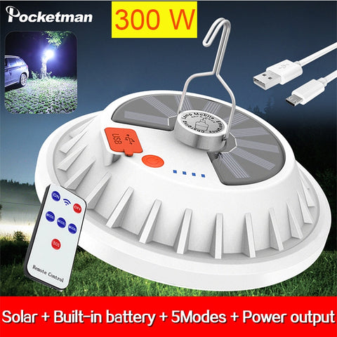 300W Rechargeable LED Bulb Lamp Remote Control Solar Charge Lantern Portable Emergency Night Market Light Outdoor Camping Home