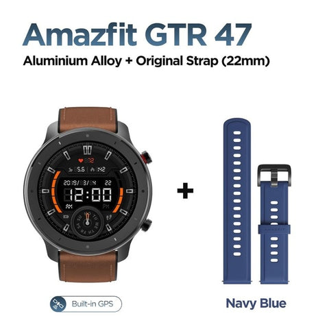 Image of Global Version Amazfit GTR 47mm Smart Watch 5ATM Waterproof Smartwatch 24 Days Battery Music Control Leather Silicon Strap