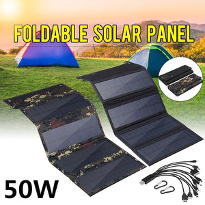 Foldable Solar Panel 50W 5V Sun power Solar Cells Bank Pack USB 10in1 USB Cable Waterproof for Phone Backpack Camping Hiking