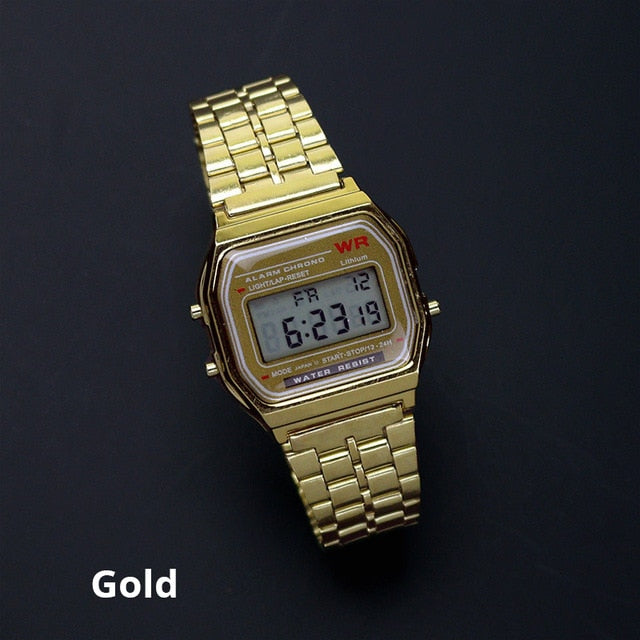 Rose Gold Silver Watches Men Watch Electronic Digital Display Retro Style Clock Men's