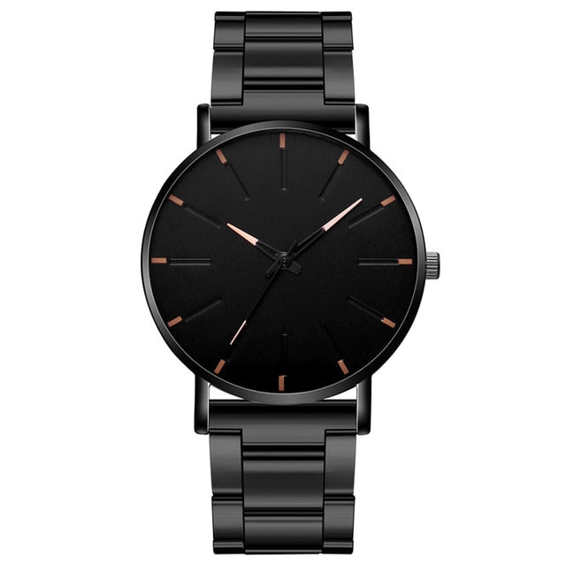 Minimalist Men's Fashion Ultra Thin Watches Simple Men Business Stainless Steel Mesh Belt Quartz Watch
