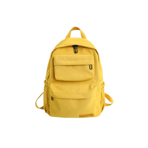 Solid Color Backpack For Women Waterproof Nylon Multi Pocket Travel Backpacks Large Capacity School Bag For Teenagers