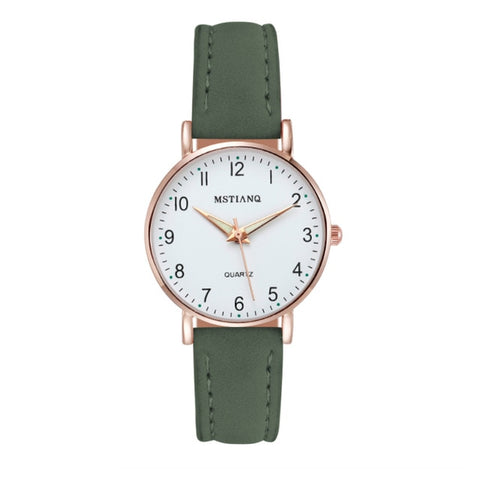 Image of Watch Women Fashion Casual Leather Belt Watches Simple Ladies' Small Dial Quartz Clock Dress Wristwatches