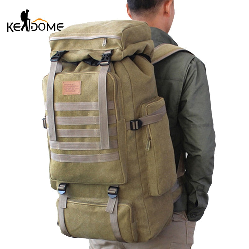 60L Large Military Bag Canvas Backpack Tactical Bags Camping Hiking Rucksack Army Tactical Travel Molle Men Outdoor Bag