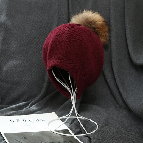 Image of Visrover  6 colors unsex autumn solid color real cashmere beanies cashmere man woman warm skullies