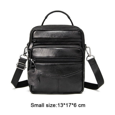 Image of Genuine Leather Male's Crossbody Bag Casual Business Leather Men's Messenger Bag Vintage Men Big Bag Zipper Shoulder Handbags