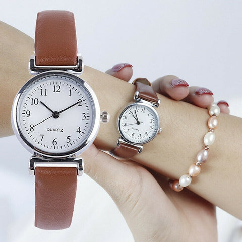 Image of Classic Women's Watches Casual Quartz Leather Strap Band Watch Round Analog Clock Wrist Watches