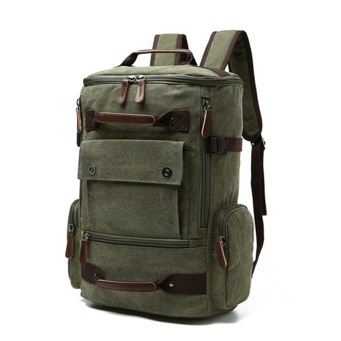 Image of Men's Backpack Vintage Canvas Backpack School Bag Men's Travel Bags Large Capacity Backpack  Laptop Backpack Bag High Quality