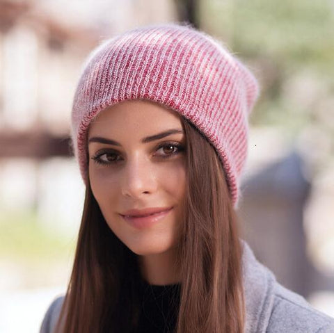 Image of Simple Rabbit Fur Beanie Hat for Women Winter Skullies Warm Wool Cap Female