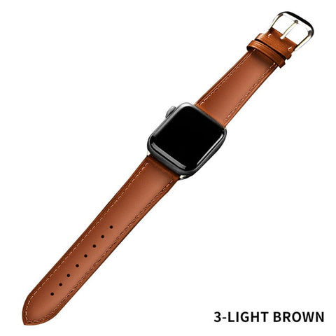 Image of Brown Leather Band Loop Strap For Apple Watch 6 SE 5 4 3 2 1 38mm 40mm , Men Leather Watch Band for iwatch 5 44mm 42mm Bracelet