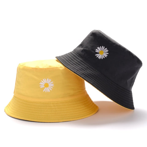 Image of Unisex Casual Solid Color Double Sided Bucket Hat Men Women Bob Hip Hop Panama Summer daisy lady Fisherman hats outdoor Sun cap