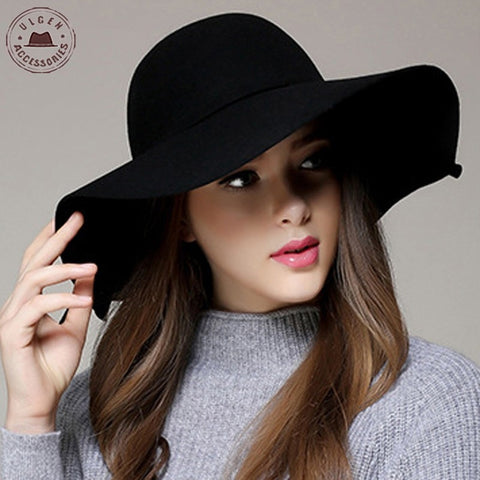 Image of Chapeau Casual Fedora Cap Wide Brimmed Dome Hats High Quality Wool Floppy Women's Black Cloche Hat