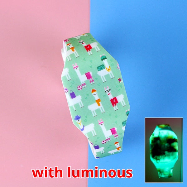 Luminous Kids Watches Girls Cartoon Pattern LED Boys Watch Silicone Strap Wristwatches