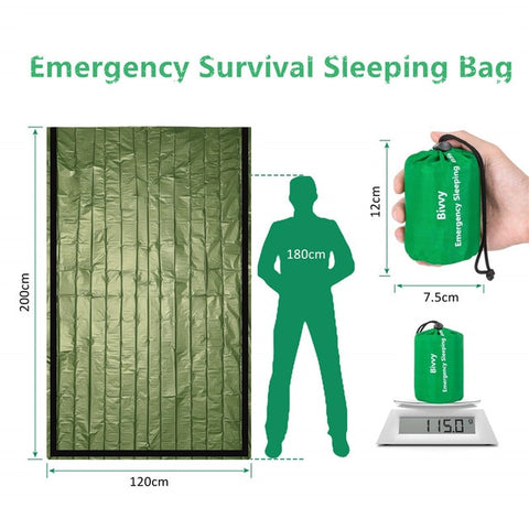 Image of Waterproof Lightweight Thermal Emergency Sleeping Bag Bivy Sack - Survival Blanket Bags Camping, Hiking, Outdoor, Activities