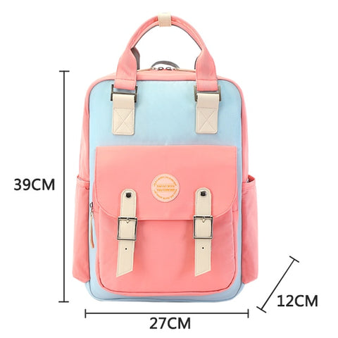 Image of Candy color women canvas backpack waterproof laptop backpack 15 Pink Patchwork school backpack bags for teenage girls