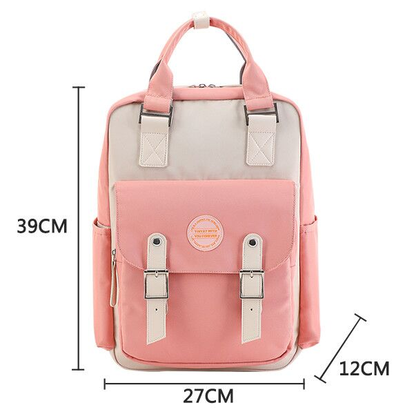 Candy color women canvas backpack waterproof laptop backpack 15 Pink Patchwork school backpack bags for teenage girls