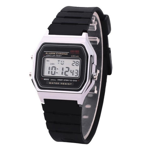Image of Rose Gold Silver Watches Men Watch Electronic Digital Display Retro Style Clock Men's