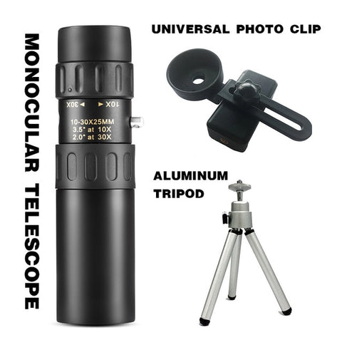 Metal Monocular Telescope 10-30x25  Zoom High Quality Monocular Binoculars Telescope Supports Smartphone with Light Night Vision