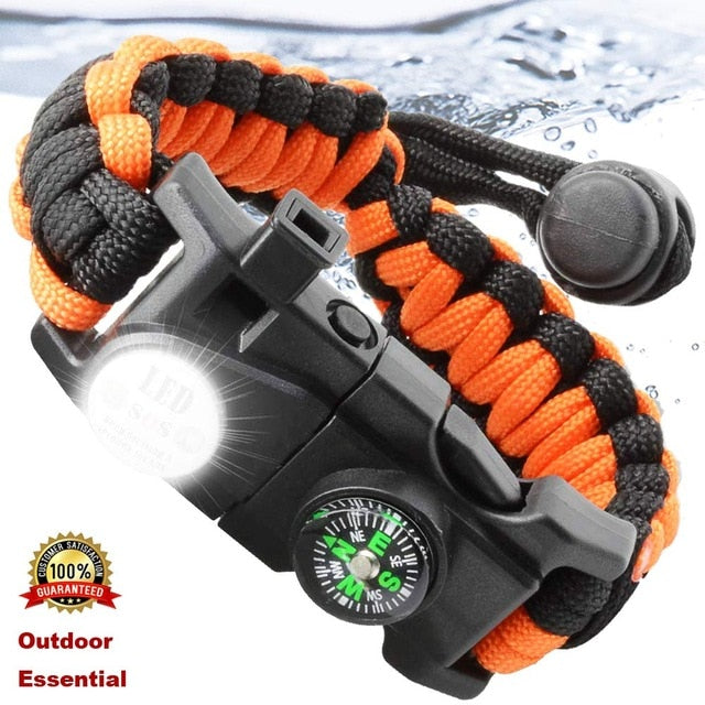 Outdoor Survival Paracord Survive Bracelet Camp Equipment Emergency Multi Tool Braided Rescue Rope SOS Flash Wristband