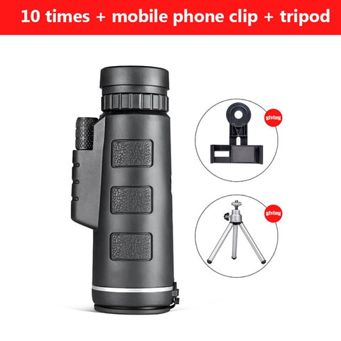 Telescope Monocular 40X60 Zoom Monocular Clear Weak Night Vision Pocket Telescope with SmartPhone Holder for Camping