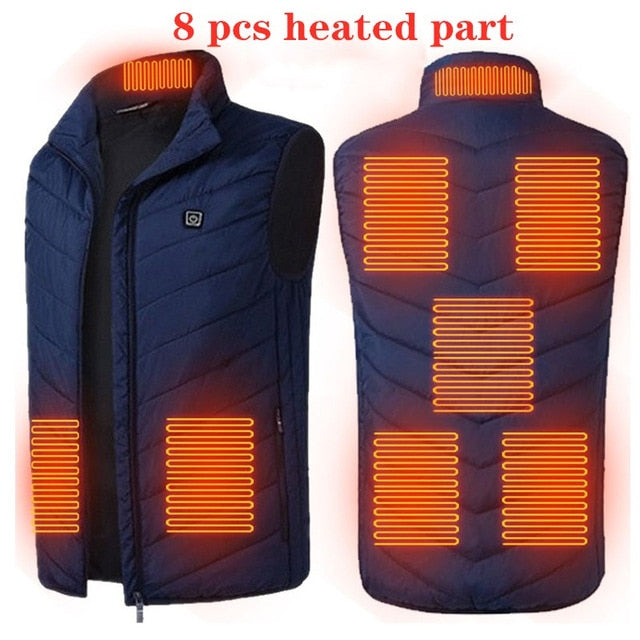 9 Areas Heated Vest Men Women Electric heated jacket Thermal Vest Jacket heating vest jacket men tactical vest