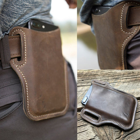 Men Cellphone Loop Holster Case Belt Waist Bag Props PU Leather Phone Wallet