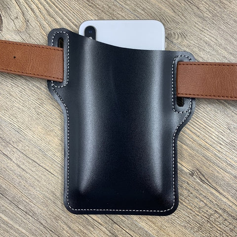 Image of Men Cellphone Loop Holster Case Belt Waist Bag Props PU Leather Phone Wallet