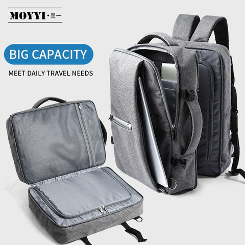 Image of Business Travel Double Compartment Backpacks Multi-Layer with Unique Digital Bag for 15.6 inch Laptop Mens Backpack Bags
