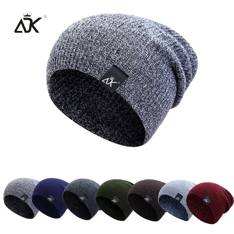 Image of Mixed Color Baggy Beanies For Men Winter Hat Women's Outdoor Bonnet Skiing Hat Female Soft Acrylic Slouchy Knitted Hat For Boys
