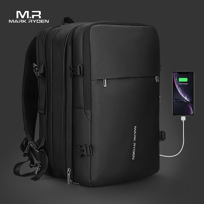 Mark Ryden Men Backpack Fits 17 inch Laptop USB Recharging Multi-layer Space Travel Male Bag Anti-thief