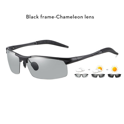 Image of Aluminum Rimless Photochromic Sunglasses Men Polarized Day Night Driving Glasses Chameleon Anti-Glare