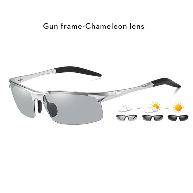 Aluminum Rimless Photochromic Sunglasses Men Polarized Day Night Driving Glasses Chameleon Anti-Glare