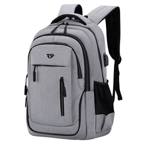 Big Capacity Men Backpack Laptop 15.6 Oxford Gray Solid High School Bags Teen College Student Back Pack Multifunctional Bagpack