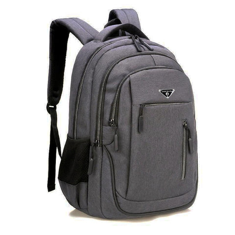 Image of Big Capacity Men Backpack Laptop 15.6 Oxford Gray Solid High School Bags Teen College Student Back Pack Multifunctional Bagpack