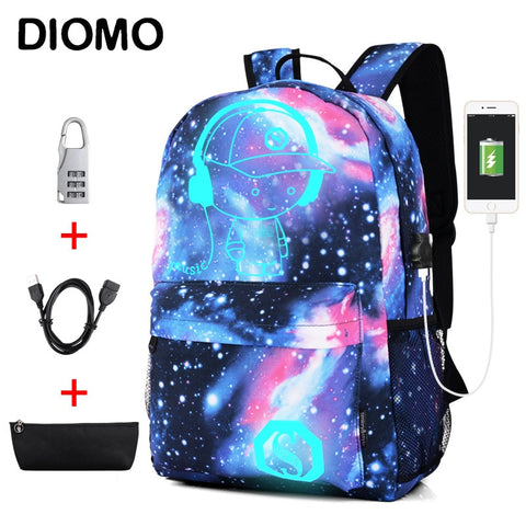 Image of Luminous School Bags for Boys and Girls Backpack with USB Charging Anime Backpack For Teenager Girls Anti-theft