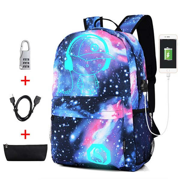 Luminous School Bags for Boys and Girls Backpack with USB Charging Anime Backpack For Teenager Girls Anti-theft