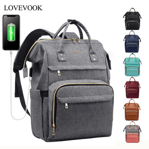 Women's backpack laptop multifunctional bags unisex USB Charge canvas anti-theft backpacks for school/work