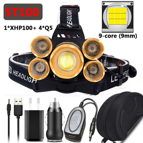 Image of XHP100 9-Core The Most Brightest Powerful Led Headlamp Zoomable Headlight Sensor Switch Use 18650 Battery Head Flashlight Lamp